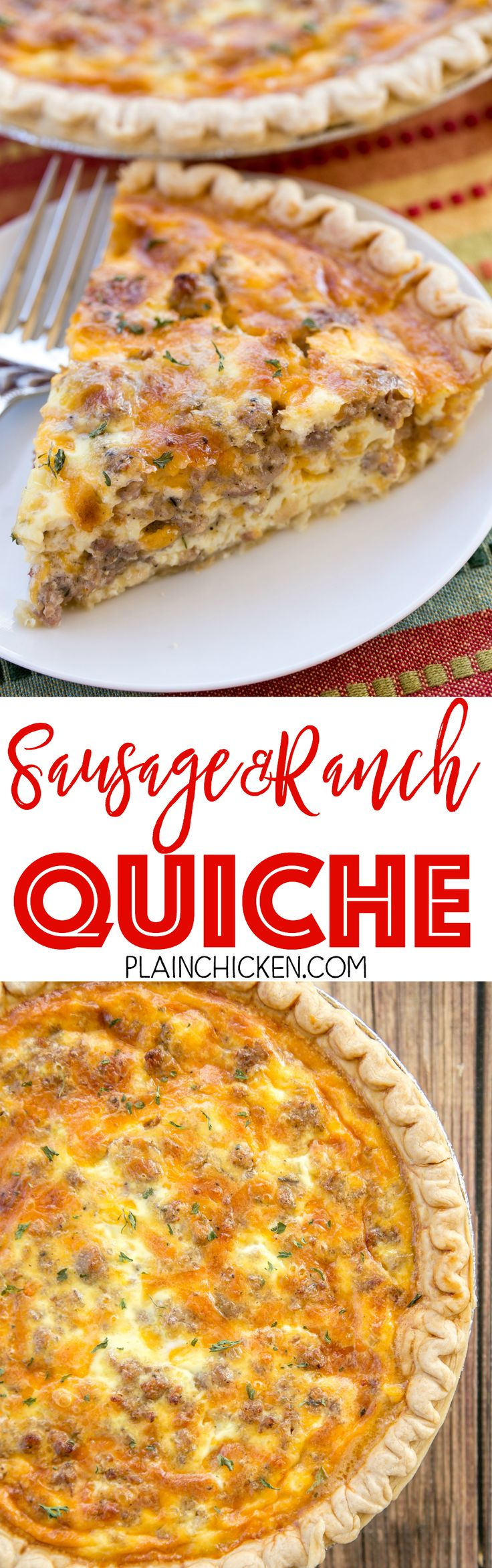 Sausage and Ranch Quiche - so quick and easy. Everyone LOVED this recipe!! Can make ahead and freeze for later. Pie crust, sausage, ranch dressing, cheddar cheese, heavy cream, eggs, and pepper. Ready