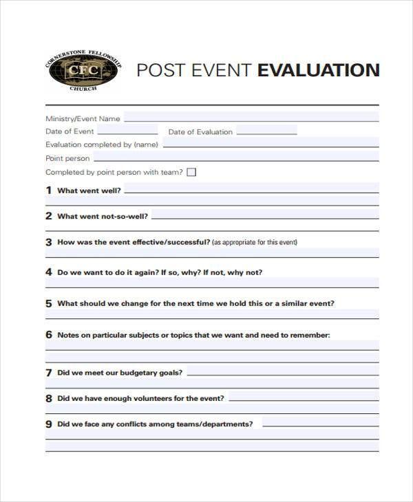 Image Result For Event Evaluation Form Evaluation Form