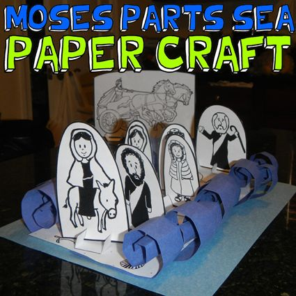 MOSES PARTING THE SEA OLD TESTAMENT BIBLE EXODUS PRINTABLE PAPER CRAFT FOR PASSOVER