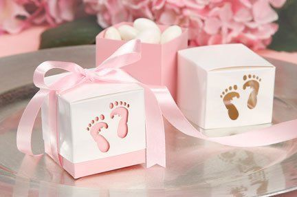 Pink or Blue Baby Favor Boxes with Tags
