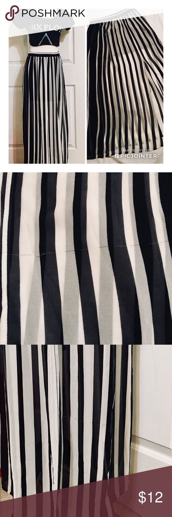 """Forever 21 Sheer Black And White Maxi Skirt Gorgeous and comfortable skirt, with elastic waist and front left slit to just above the knee. Black stripes are thicker on right side, graduating to a thinner stripe. Black mini skirt length lining is 15"""" long. Skirt is approximately 36"""" long. Picture 2 shows a horizontal snag in the fabric. Picture 3 shows snag from a distance (not very noticeable). Elastic waist is 14"""" measured flat, unstretched. Forever 21 Skirts Maxi"""