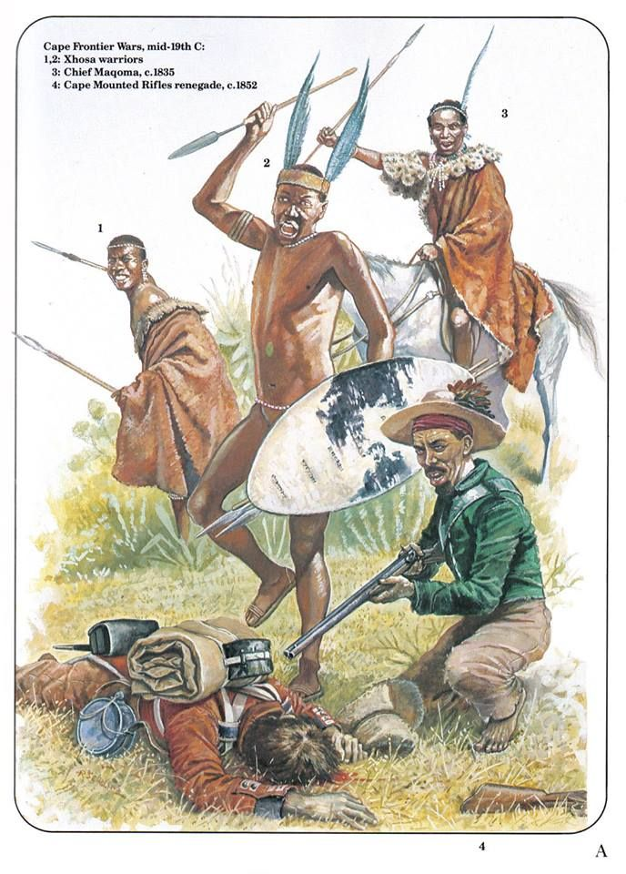 Cape Frontier Wars,mid 19th C. 1&2:Xhosa warriors.3:Chief Maqoma,c.1835.4:Cape Mounted Rifles renagade,c.1852.