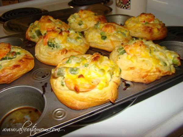 Kid Friendly Vegetable Recipe - Veggie Cupcakes (frozen veggies, cream cheese, frozen dough, cheese)