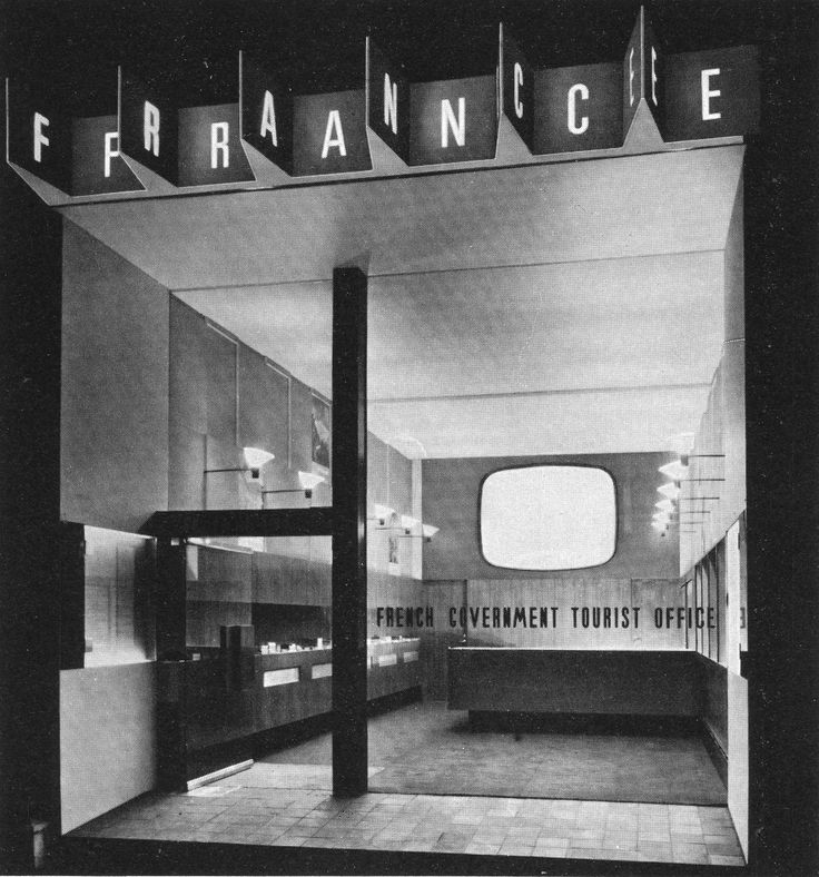 "Front of the French Government Tourist Office in London, 1962. Designers Charlotte Perriand (nice person) and Ernő Goldfinger (not nice person, ""Goldfinger was known as a humourless man given to notorious rages."" Ian Fleming named Bond villain after him)"