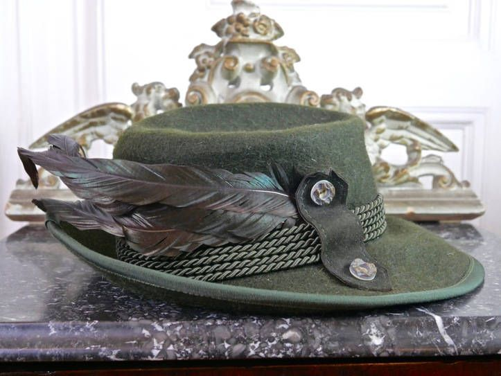 German Vintage Mohair Trachten Hat, Dark Olive Mohair Fedora w Pheasant Feathers, Bavarian Women's Wool Hat, Tyrol Traditional Hat: Size M by YouLookAmazing on Etsy