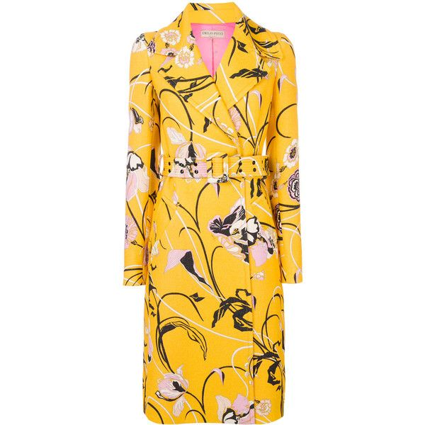 Emilio Pucci printed belted coat (39.457.945 IDR) ❤ liked on Polyvore featuring outerwear, coats, yellow, belt coat, yellow coat, coat with belt, emilio pucci and belted coats