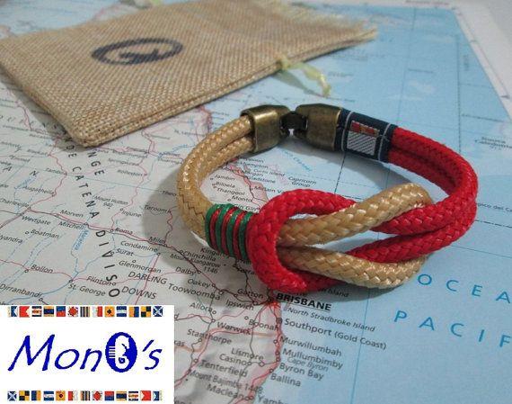 Bracciale con chiusura in Zamak Beige e rosso Men's nautical bracelet with zama clasp
