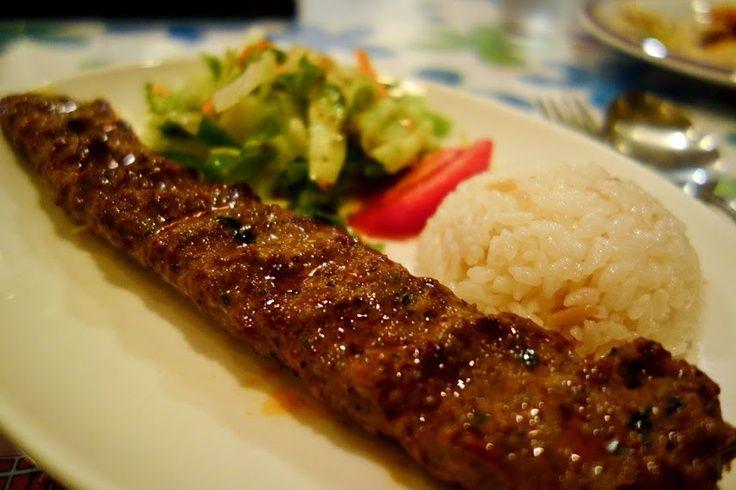 Adana Kebab Rindfleischspiess Mit Salat Reis Adana Kebab