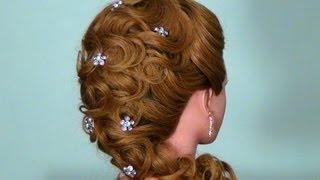 Вечерняя прическа для длинных волос. Wedding prom hairstyle, via YouTube.