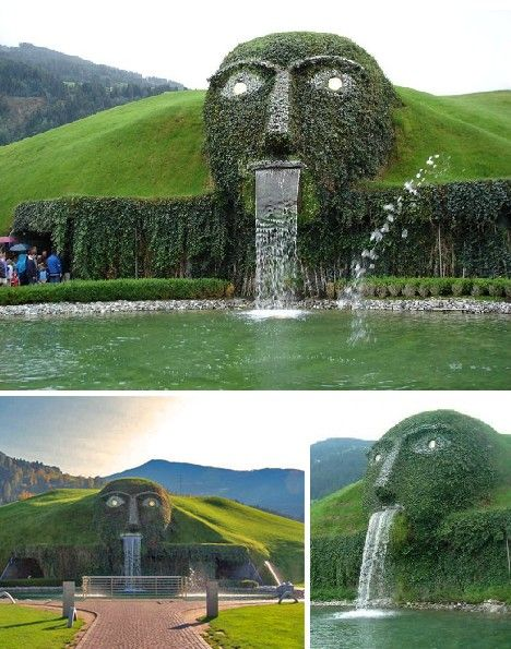 this huge, troll-like fountain is actually the entrance of the Swarovski headquarters in Wattens, Austria.