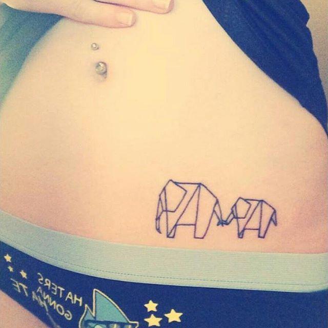 origami #elepha... Origami Elephant Tattoo