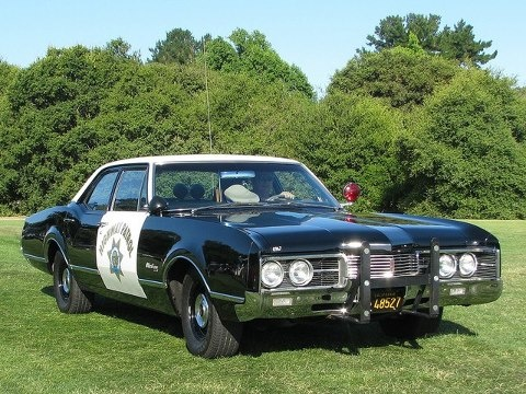 """1967 Oldsmobile police cruiser.  CHPs hated these and the Mercurys that Gov. Reagan made them buy """"to break the Chrysler/Dodge monopoly"""" on CHP cars.  There was a reason they loved the Chrysler Products:  they worked."""