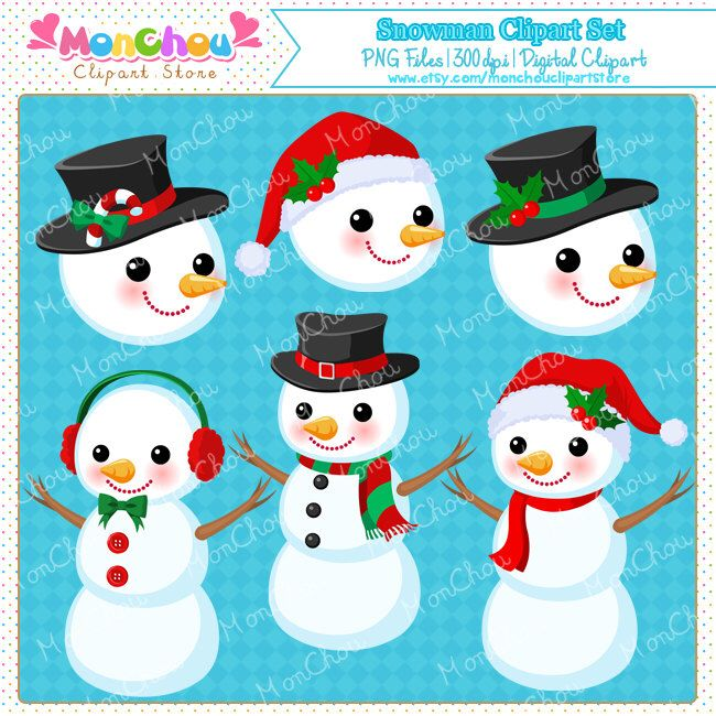 Snowman Clipart Set - For Commercial and Personal Use Cliparts by MonChouClipartStore on Etsy https://www.etsy.com/uk/listing/214608679/snowman-clipart-set-for-commercial-and
