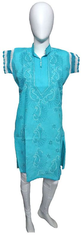 Self Design Lucknowi Chikan Kurti List price: Rs1090   Rs445 You save: Rs645 (59%)  Specifications . Fabric: 100% Cotton . Self Design Chikankari . Color : Sky Blue . Sleeve : Half