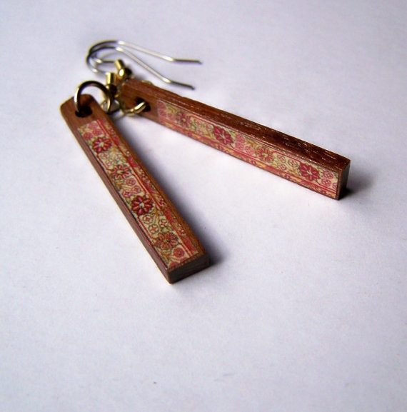 Recycled Piano Flat Drop Earrings Pink Pattern, via Etsy.