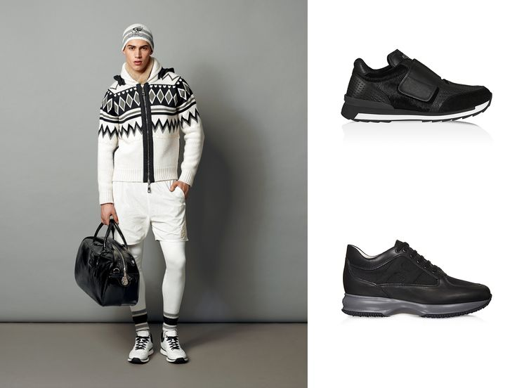 #HOGAN #Interactive in leather with high-tech fabric details and #HOGANREBEL R261 sneakers with haircalf inserts from the Men's Collection.