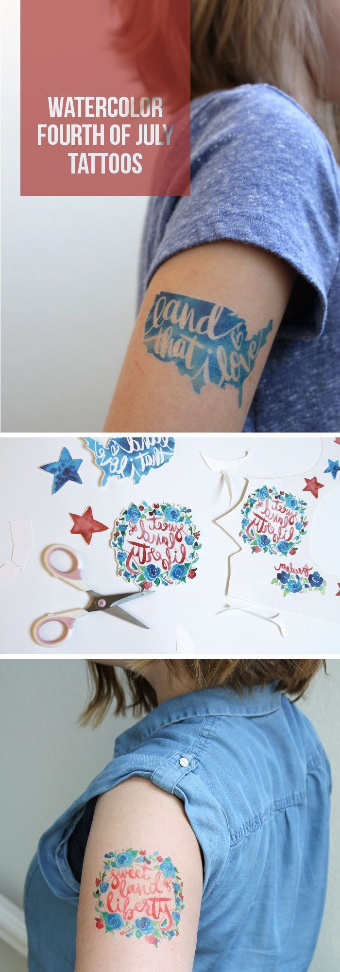Make your own temporary tattoos for the fourth of july! Pretty watercolor designs. Click through to download the printable file.