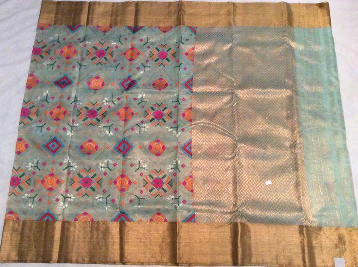 Sea blue pure zari tissue kota with all over thread weaving ikkath design