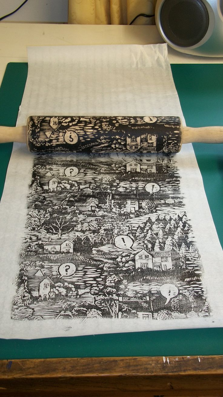 roling pin - Carved, inked and printing