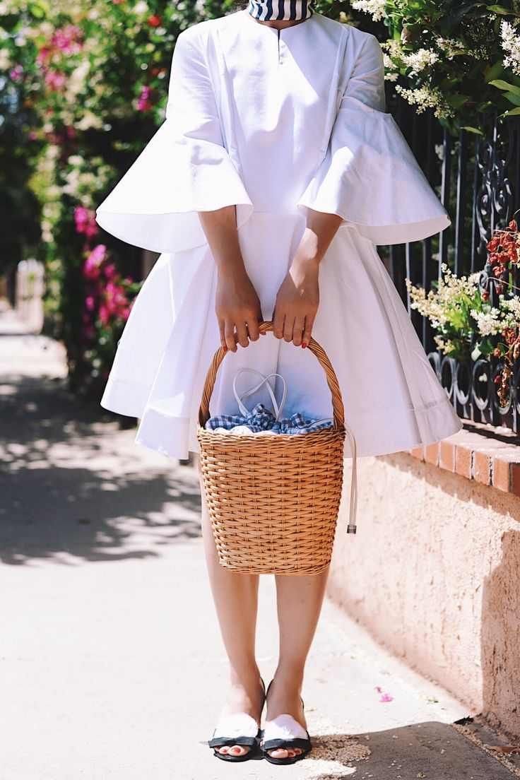 HallieDaily, Style, Street Style, Outfit, What I Wore, Fashion, Summer Fashion, Spring Style, Carven, Bell Sleeve, Babydoll, Dress, Little White Dress, Burberry, Silk Scarf, Striped Scarf, Straw Bucket Bag, Celine Sunglasses, Chanel Sandals, Lancome Lips, Nordstrom, Designer