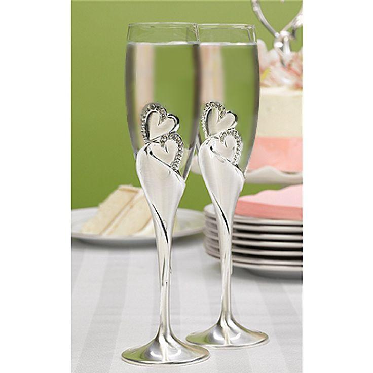 Double Heart And Rhinestone Wedding Flutes Set Of 2