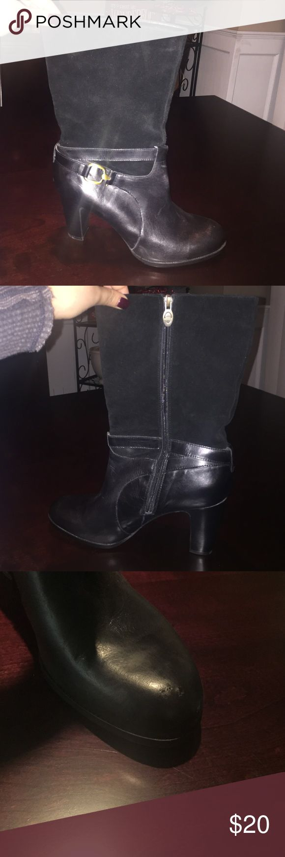 Circa Joan & David boots Circa Joan & David mid-calf heel boots with black leather bottom and suede on the top! Zipper on one side with gold buckle on the other! Heel height is about 3 inches! There is a scuff on the left boot Joan & David Shoes Heeled Boots