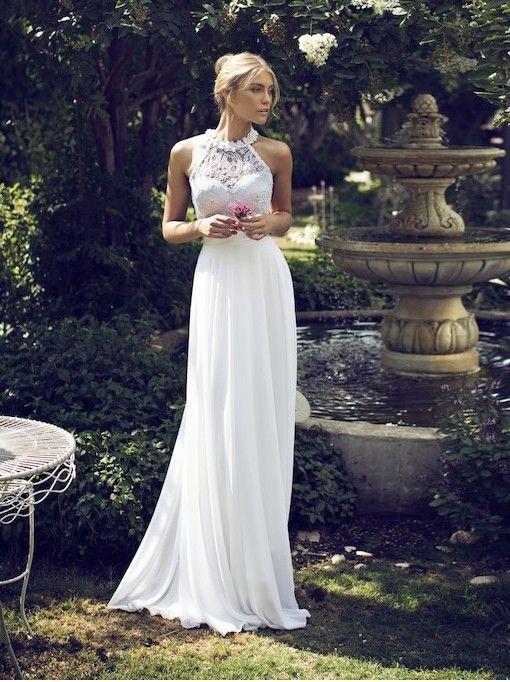 2016 New Styles! Sexy & Elegant High Neck Sleeveless Floor-Length Wedding Dresses!