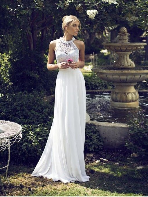 2016 New Styles! Sexy & Elegant High Neck Sleeveless Floor-Length Wedding Dresses!