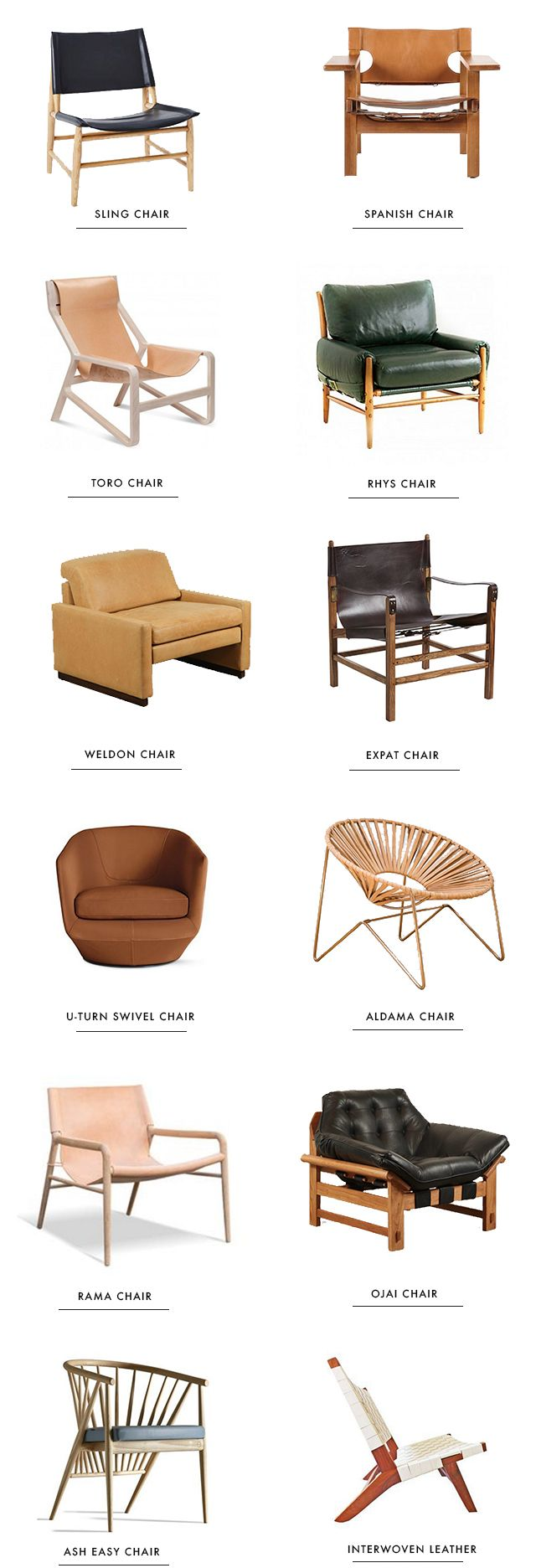 round up // best leather accent chairs // sarah sherman samuel