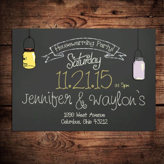 Housewarming Party Invitation on Chalkboard background ...