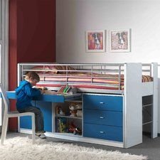 Bonny European Single Mid Sleeper Bed with Storage