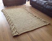 Tappeto fatto a mano / a maglia / pura lana grosa - SPEDIZIONE GRATUITO DOVUNQUE ! : Tessili e tappeti di inlivingstyle