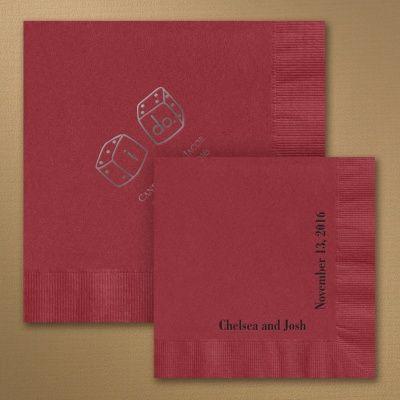 custom personalized napkins. wine wedding napkins these dark red are custom personalized with your choice of design i
