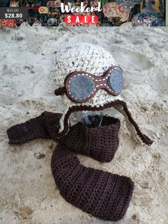 Crochet Baby Aviator Hat with Goggles and Crocheted  accessories  hat   EtsyMktgTool  aviatorhat  aviatorhatgoggles  crochetaviatorhat 7bd0f5e53684