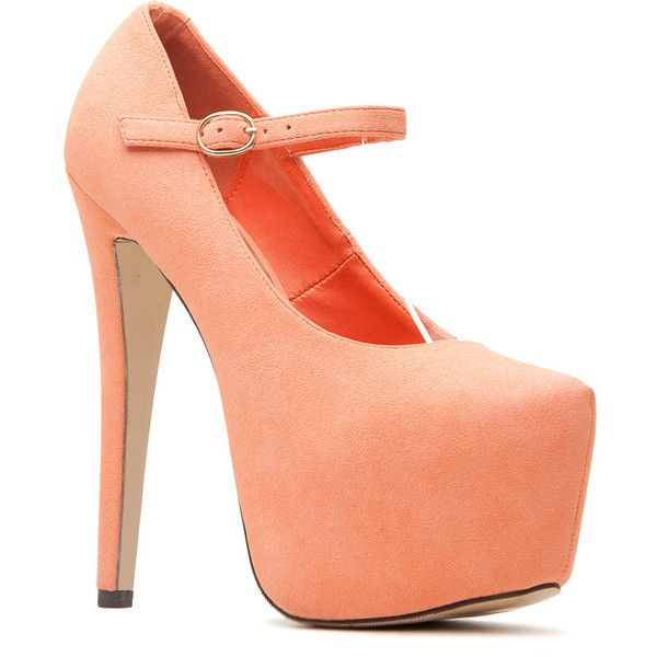 CiCiHot Peach Faux Suede Platform Mary Jane Heels ($34) ❤ liked on Polyvore featuring shoes, pumps, heels, synthetic shoes, mary jane shoes, heeled mary janes, platform pumps and peach shoes