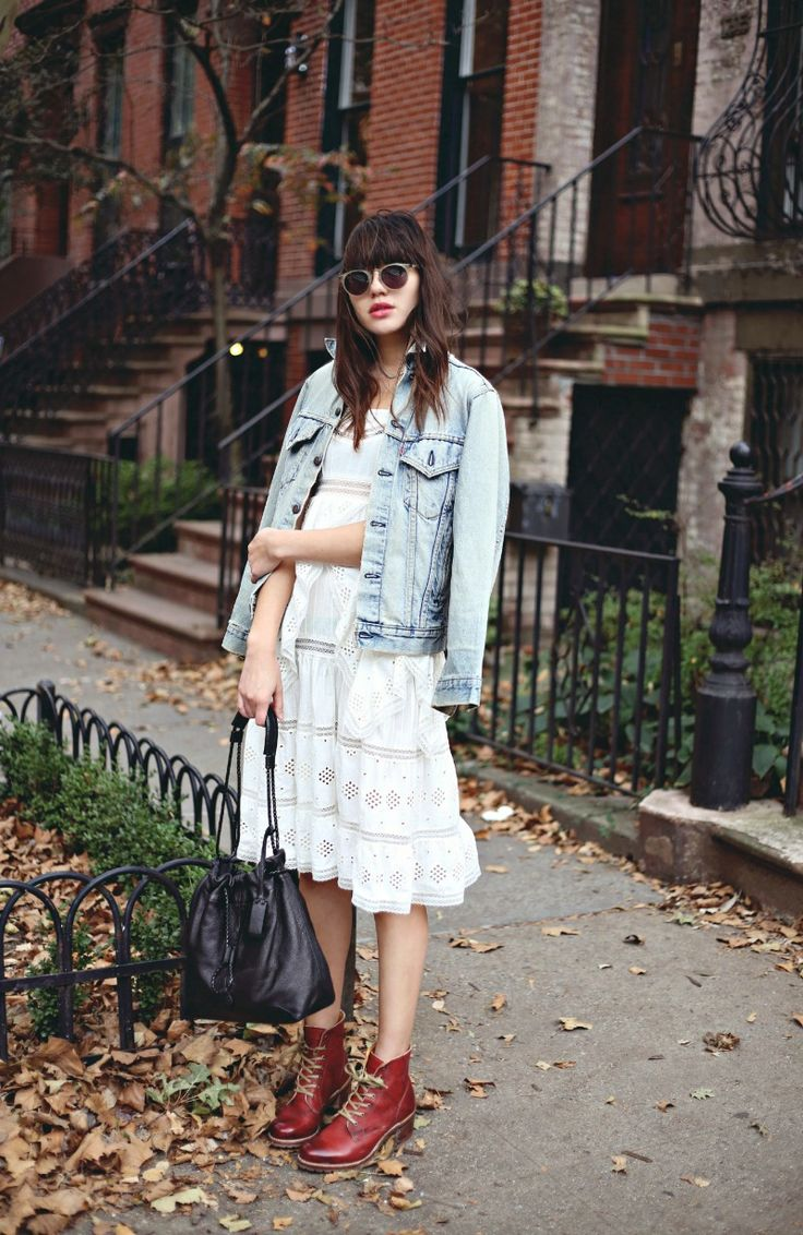 denim jacket with white dress and combat boots