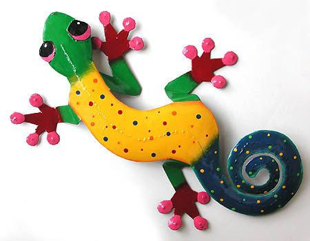 70 best Geckos in Hand Painted Metal - Gecko Outdoor Garden ...