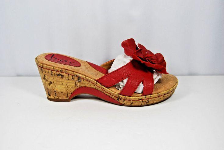 BOC BORN CONCEPT woman's Pink Leather Flower Cork Wedge Slides Sandals 7M  #BOCBORNCONCEPT #WedgeSandals