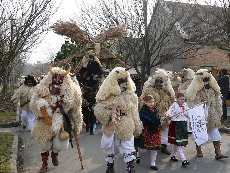 Mohács (pr. Moch-atsh), Hungary - Busó festivities (Busójárás) The 6-day winter chasing carnival of  Busós. People wearing wooden masks and woolly cloaks. It's fun for everyone.