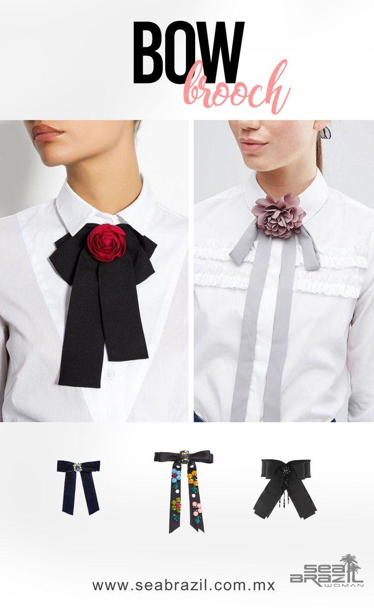 Bowties, bow broochs o moños para ropa es la nueva tendencia que llegó éste otoño-invierno 2017. Normalmente se usan en camisas o blusas, pero también los puedes combinar con vestidos y/o faldas. Hay miles de colores, tamaños y materiales, con pedrería, pompones o figuritas de animalitos. ¡Lucirás única! #SeaBrazil #Jeans #Moda #Fashion #Tendencia #Trendy #Glam #Glamour #Mujer #Woman #Femenina #Estilo #Style #Boho