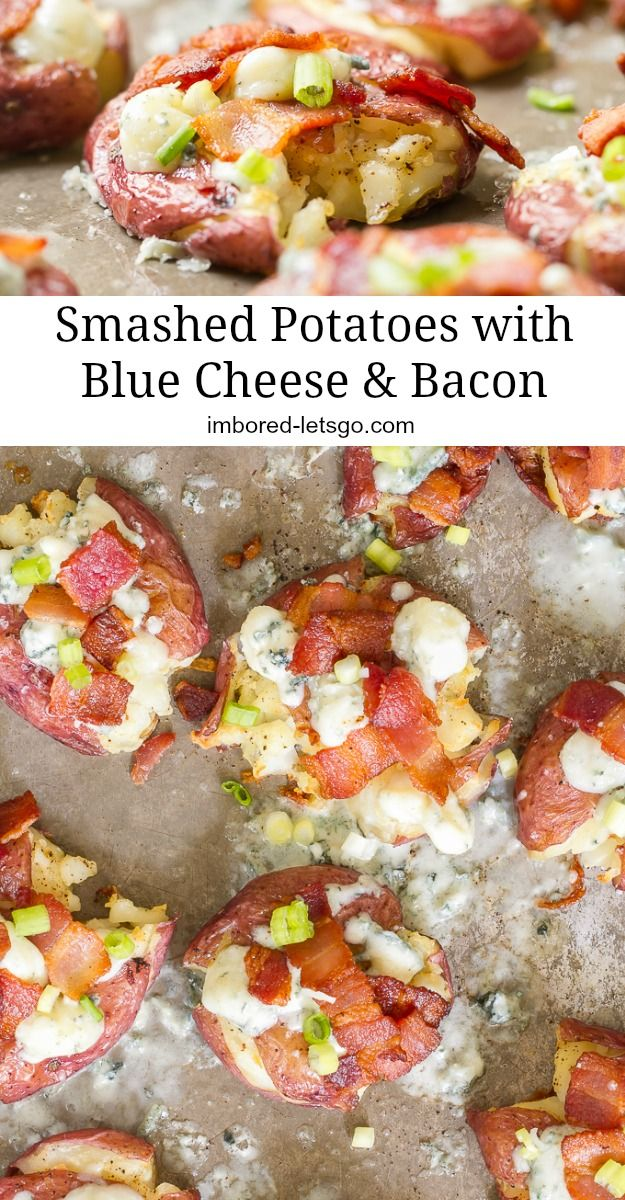Small red potatoes are boiled, then smashed and roasted for a crispy exterior and creamy inside. Topped with blue cheese and bacon.  A perfect appetizer or side dish for Thanksgiving holiday or dinner anytime!