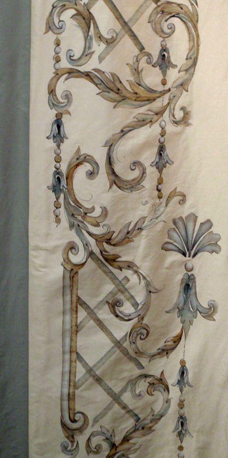 hand painted onto cream silk curtains...