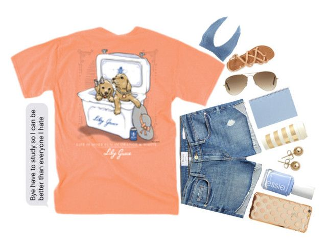 """""""Bye have to study"""" by keely-in-bookland ❤ liked on Polyvore featuring Charlotte Russe, Frame, Ray-Ban, Essie, Aéropostale, Kate Spade and Bling Jewelry"""