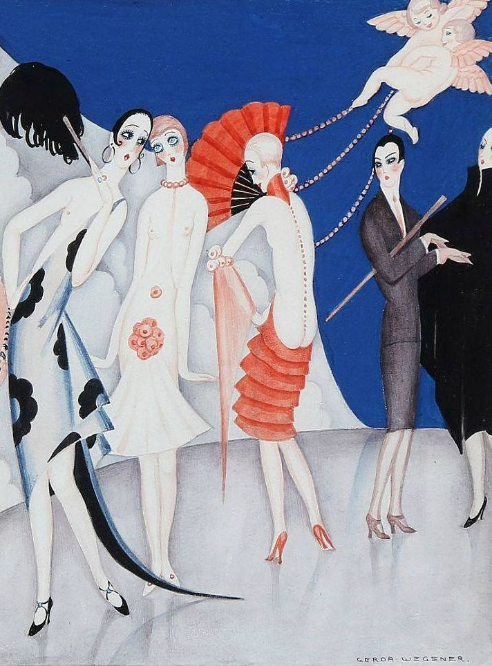 Gerda Wegner, detail, Modeopvisning for Fortidens Damer, Fashion show for the ladies of the past, Art Deco fashion, 1920s