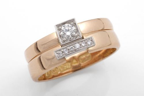 Matching engagement ring and wedding band. CaiSanni