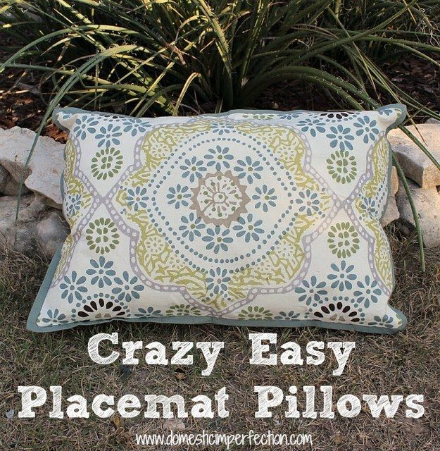 Or use double-layer placemats to make the easiest pillows ever. | 31 Clever Ways To Decorate Your Outdoor Space