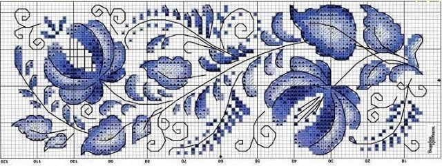 Błękitny haft krzyżykowy   Haft krzyżykowy - inspiracje i wzory