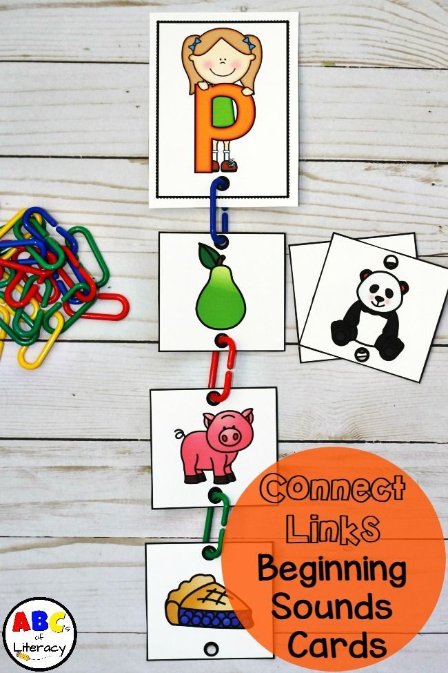 Connect Links Beginning Sounds Task Cards are a fun and hands-on way to practice identifying beginning sounds. Literacy Centers | Initial Sounds | Printables