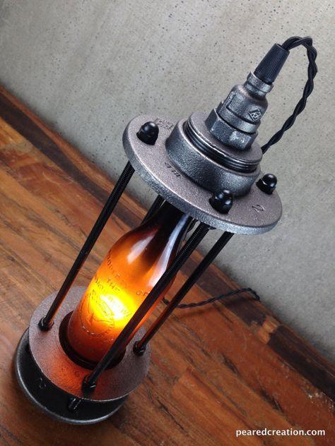 Items similar to Vintage Beer Bottle Lamp - Beer Promo - Industrial Lighting on…