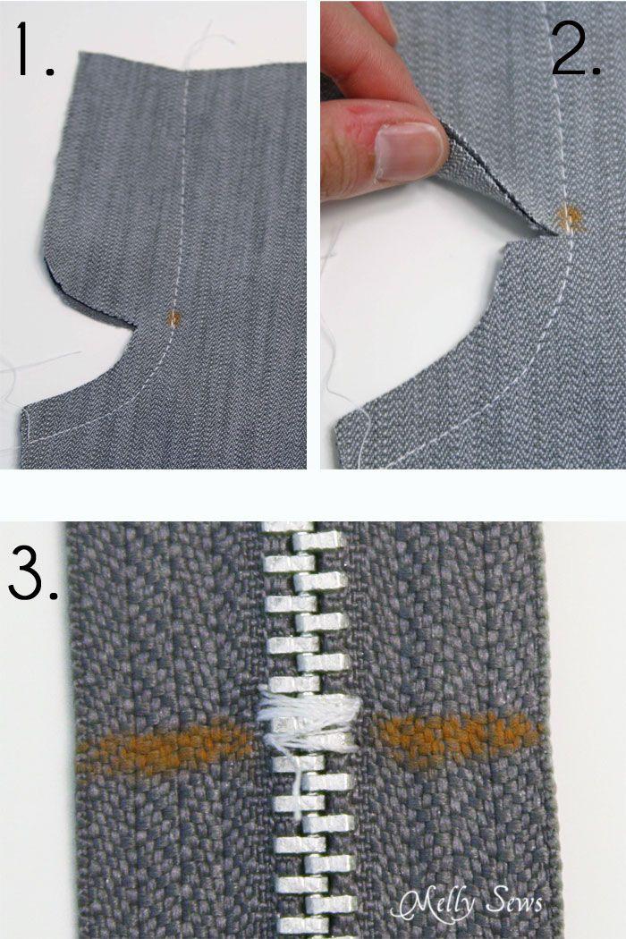 How to Sew a zipper fly - sew center seam and shorten zipper